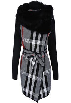 Grey Fur Neck Long Sleeve Plaid Belt Coat