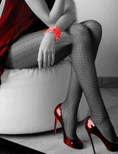 Nylons and heels Polka Dot Tights, Polka Dots, Patterned Tights, Nylons, Pantyhose Heels, Pantyhosed Legs, Mode Shoes, Foto Fashion, Fashion News