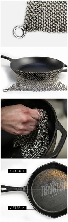 The Ringer - The Original Stainless Steel Chainmail Cast Iron Cleaner. #affiliate