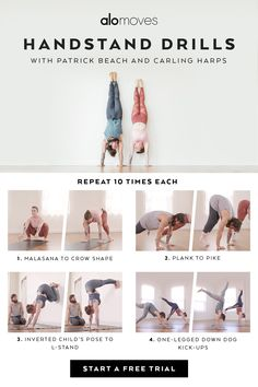 Learn to handstand in 30 days with Patrick & Carling's handstand drills! These fun movements build strength in the wrists, core, and shoulders while helping you progress upside down. Try these movements, or go to their online video classes for the full 30-day series.
