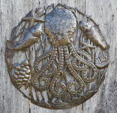 "Octopus with Sea Life Haitian Recycled Metal Wall Art, Garden Patio Yard Art 23"" x 23"""