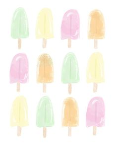 Popsicle Print and Free Summer Wallpaper Download from Fresh Mommy Blog!  Create some super easy, fun and delicious (FOUR of them!) summer creamsicle popsicles with these recipes, plus we've got some gorgeous watercolor backgrounds to download and give a little treat to your tech devices or printable for your summer party or home decor!
