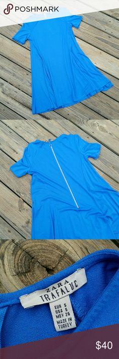 "ZARA TRAFALUC BLUE SWING DRESS ZIPPER BACK Zara Trafaluc, cobalt blue swing dress with zip up back. Excellent condition! Like new! 95% viscose & 5% elastane. 33"" from armpit to armpit.  32"" length. Zara Dresses"