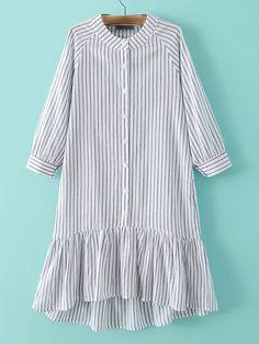 602d9e301 Grey Stripe Buttons Front Ruffle Hem Dress -SheIn(Sheinside) Hijab Style