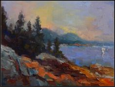 Acadian Morning , 9x12, oil on Raymar panel, Acadia Nat'l PArk, Cadillac Mountain, Maine landscapes, painting by artist Maryanne Jacobsen