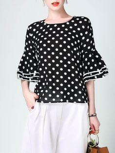 Shop blouses - black h-line bell sleeve polka dots blouse online Blouse Styles, Blouse Designs, Polka Dot Blouse, Polka Dots, Stylish Tops, Blouse Online, Short Sleeve Blouse, Corsage, Black Blouse