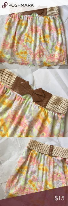 Maurices belted Skirt! Maurices floral print skirt with Belt! So cute! Floral print chiffon like skirt fully lined! Great brown bow belt! Great condition! 18.5 inches long! Waist laying flat 16 inches. Elastic waist and belt is stretchy! Maurices Skirts A-Line or Full