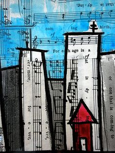 musical cityscape on paper