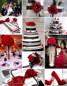 Black and red and white wedding