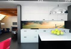 LED verlichting achter een glazen achterwand met afbeelding #kitcheninspiration #interiorinspiration #keukenglas