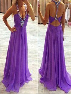 Long Custom Prom Dress,Purple prom dress, Chiffon prom