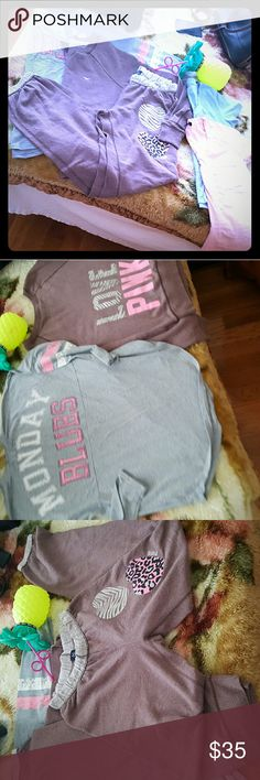 Pink victira secret Bundle of others Xsmall sweats great shape  Small Sweater great shape  Xsmall gray top not vs worn once runs loss Light pink Peachy top small worn once  Blue top Rapha Lauren small worn few time great condition   Pink bottle only put water in and out like new PINK Victoria's Secret Sweaters