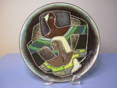 """Ellamarie & Jackson Woolley Enamel on Copper Dish 8 1/2"""" diameter. Marked at back """"Ellamarie & Jackson Woolley, 4540"""""""