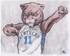"University of Kentucky Wildcats mascot by Michael J. Hall.  Ink and watercolor on 5""x7"" white card stock."