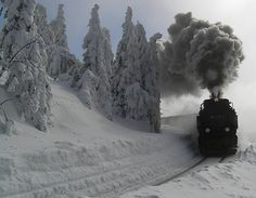Trens e Locomotivas by Daniel Alho / train trip through the Canadian Rocky Mountains Night Circus, Old Trains, Train Tracks, Winter Scenes, Rocky Mountains, Belle Photo, Winter Wonderland, Places To Go, Scenery