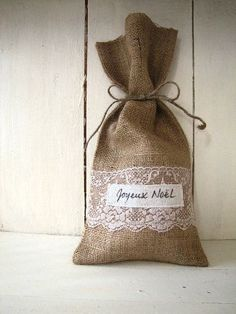 Burlap And Lace Gift Bags. This would be great with lavender inside. lk