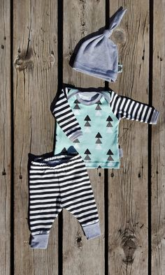 Mod Mint Triangle and Stripe Coming Home Outfit with Matching Knot Hat, Organic Knit, Baby Boy, Size Newborn, Request Larger Sizes by brambleandbough on Etsy