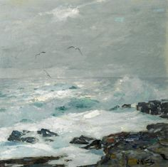 Surf Breaking on the Rocks with Sea Gulls Above by William Frederick Ritschel