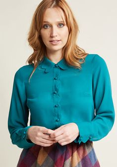 Chiffon Button-Up Blouse with Scallops in Teal