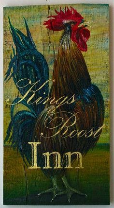 Be the King of your Castle or Inn or TV room with a hand painted Rooster.Custom original acrylic Rooster  painting by Gigi begin.