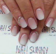 White pink ombré bridal nails.