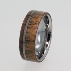Wedding Rings / Tungsten Ring / Wood Ring with Flat profile / Exotic Hard Wood - New1008. $390.00, via Etsy.