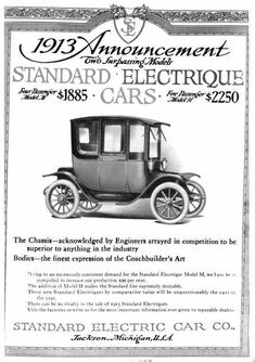 1913 Standard Electrique Automobile Advertisement