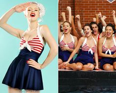 If you love the swimsuit, you'll love the matching dress made by Pinup Couture for Modcloth! Pinup Couture Hello Sailor Bettie One Piece Swimsuit - $78.00 Pinup Couture Removable Swim Skirt - $36.00