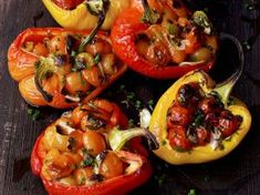 Six O'Clock Solution: Surprise! There's anchovy in your stuffed peppers Small Tomatoes, Cherry Tomatoes, Dorie Greenspan, Potato Latkes, Party Dishes, Fries In The Oven, Deep Dish, Grubs, Gourmet