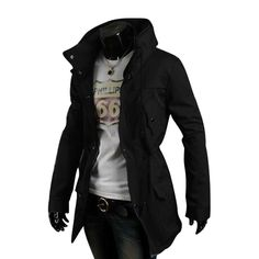Man Chic Double Stand Collar Drawstring Waist Black Hip Length Jacket M