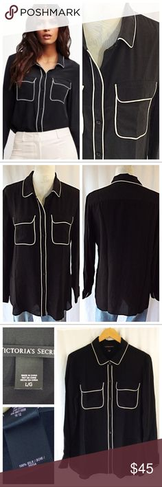 "Victoria's Secret Silk Button Down This blouse is gorgeous. Black silk button down with white piping. Dual breast pockets and long sleeves. 100% lightweight luxurious silk. Size L, 21"" chest when laying flat, 28"" total length. Great condition Victoria's Secret Tops Button Down Shirts"