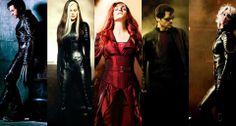 Logan/Wolverine, Marie/Rogue, Jean/Pheonix, Scott/Cyclops and Storm