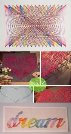 String art is always fun. Lots of DIY ideas. Bookshelf bookmarker, string art, mug designs and art supplies to create art! Cute Crafts, Crafts To Do, Arts And Crafts, Kids Crafts, Diy Projects To Try, Craft Projects, Arte Linear, Ideias Diy, Home And Deco