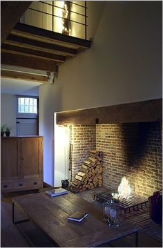 large Rustic fireplace in renovated Farm House. Slate Fireplace, Rustic Fireplaces, Farmhouse Fireplace, Fireplace Hearth, Fireplace Design, H Design, House Design, Quonset Homes, Lakefront Homes