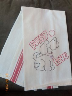 VALENTINE Hand Embroidered Dishtowel.  Puppy Love Design. Vintage/Retro look by Happy2BCrafty on Etsy