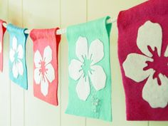 Hawaiian luau themed felt party banner or room by TaffieWishes. $35.00 USD, via Etsy.