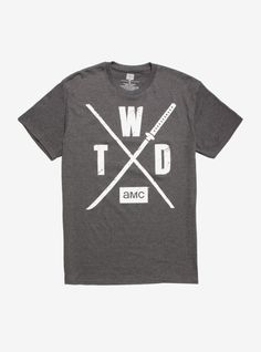 """Get ready for the next installment of The Walking Dead with this grey tee. Printed with crossed weapons and """"T W D"""" with the AMC logo underneath. Walking Dead Season, The Walking Dead, Amc Shows, Grey Tee, Size Model, Seasons, T Shirts For Women, Tees, Mens Tops"""