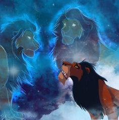 Scar look his brother, Mufasa and his father, Ahadi in sky Simba Disney, Disney Lion King, Disney And Dreamworks, Disney Pixar, Scar Lion King, Lion King Fan Art, Lion King Movie, King Art, Arte Disney