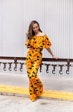 African Print Ruffle Jumpsuit by MelangeMode on Etsy