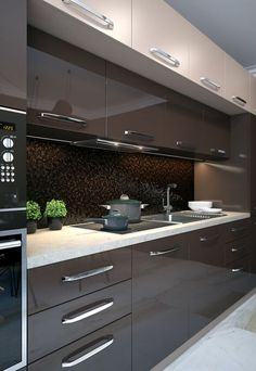 44 Fascinating Kitchen Glass Surfaces Design Ideas - Are you looking for a truly stunning finish to your top spec interior design project? Then look no further than bespoke glass surfaces. These decorati. Kitchen Room Design, Luxury Kitchen Design, Contemporary Kitchen Design, Kitchen Cabinet Design, Home Decor Kitchen, Rustic Kitchen, Interior Design Kitchen, Kitchen Ideas, Kitchen Furniture