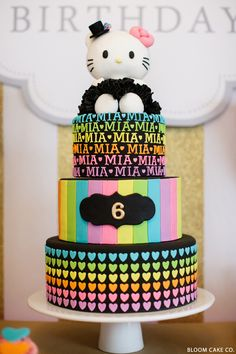 Love this Hello Kitty cake in Black  Rainbow Colours