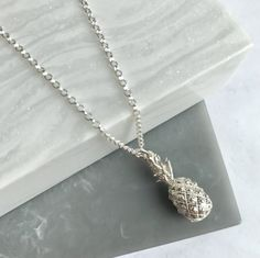 Solid Sterling Silver Pineapple Charm Necklace