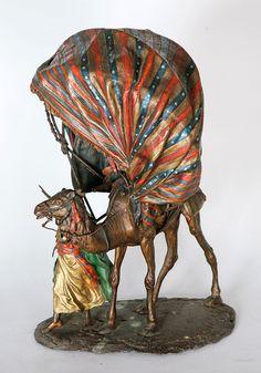 A fine Orientalist Viennese cold painted bronze lamp by Bergman (Austria)