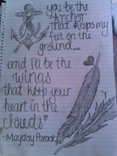 the words in a chain around my ankle and then wings on a simple anchor....