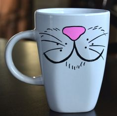 """Easy-Cat Mouthed Mug on back it says """"You've CAT to be KITTEN me right MEOW"""""""