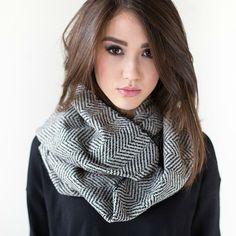 Wool herringbone infinity scarf.
