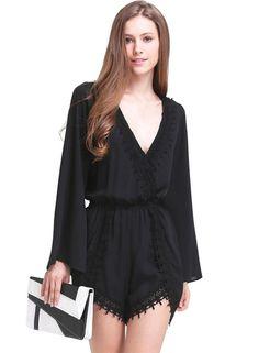 Black Long Sleeve V-neck Lace Hem Jumpsuit