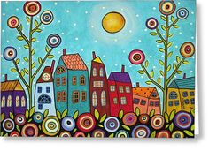 Houses Blooms And A Moon Greeting Card by Karla Gerard