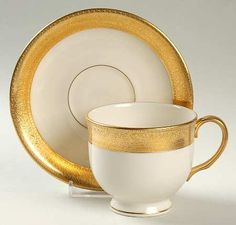 Footed Cup & Saucer Set in the Westchester pattern by Lenox China