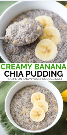 Banana Chia Pudding is creamy and delicious - naturally sweetened chia seed pudding with ripe bananas - vegan, gluten free, breakfast or healthy dessert # Food and Drink chia seeds Banana Chia Pudding - Know Your Produce Mango Chia Pudding, Chocolate Chia Seed Pudding, Coconut Chia Pudding, Chia Seed Pudding Recipe, Chia Seed Pudding Healthy, Overnight Chia Pudding, Vegan Gluten Free Breakfast, Keto Vegan, Omelette